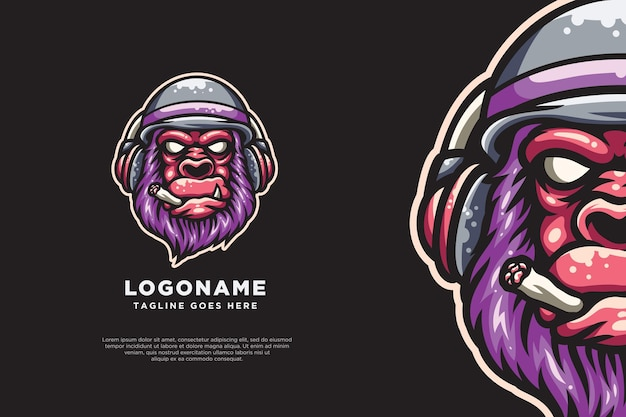Kingkong gorilla logo mascotte muziek ontwerp