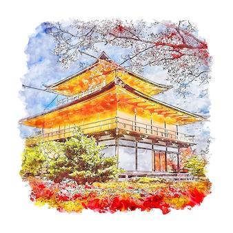 Kinkakuji tempel japan aquarel schets