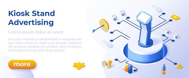 Kiosk stand reclame - isometrisch ontwerp in trendy kleuren isometrische pictogrammen op blauwe achtergrond. sjabloon voor bannerlay-out voor websiteontwikkeling