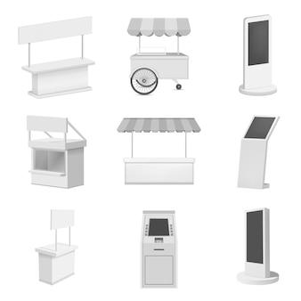 Kiosk stand stand mockup set. realistische illustratie van 9 kiosk stand cabine mockups voor het web