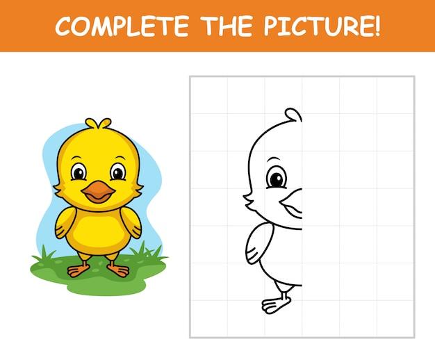 Kip cartoon, maak het plaatje compleet