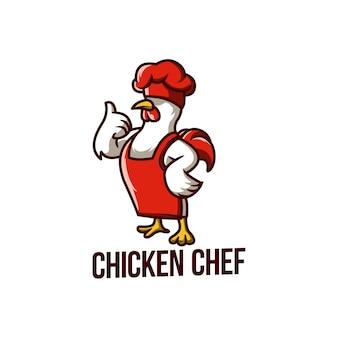 Kip chef-kok voedsel mascotte keuken haan