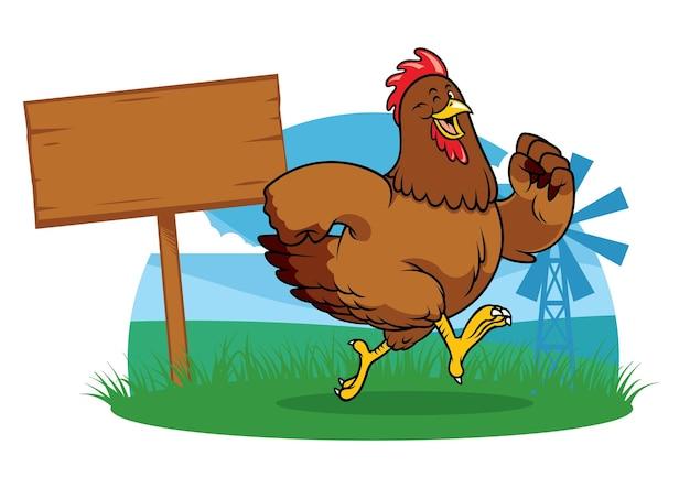 Kip die op de boerderij rent in cartoonstijl