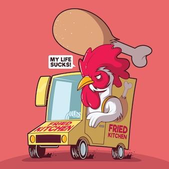 Kip die voedselillustratie levert