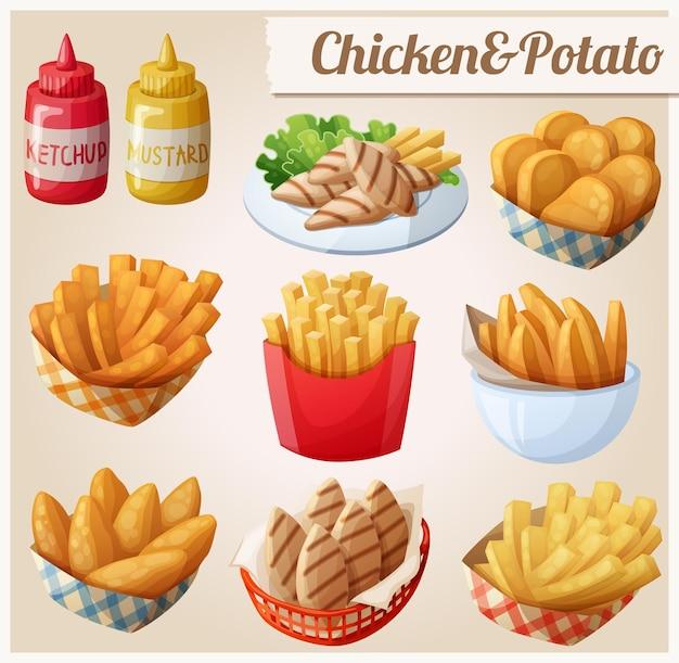 Kip en aardappel set cartoon vector voedsel pictogrammen