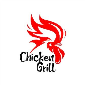 Kip grill barbecue logo bar ontwerp