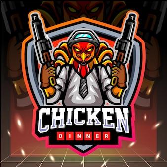 Kip haan kanonniers mascotte esport logo ontwerp