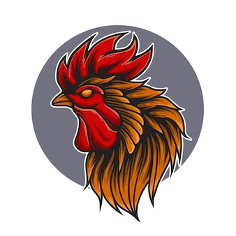 Kip hoofd logo mascotte illustratie