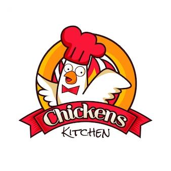 Kip keuken restaurant logo symbool