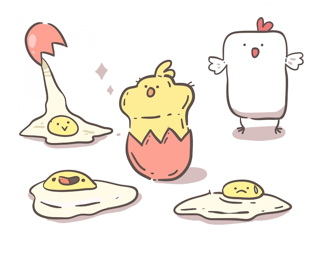 Kip, kuiken en eieren. hand getrokken lijn