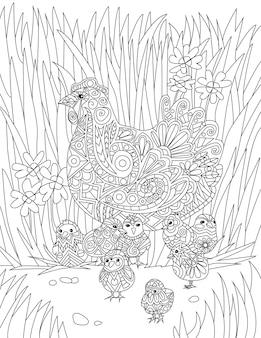 Kip met baby's rustend in hoog gras kleurloze lijntekeningen babykuikens rondom moeder