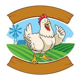 Kip op de boerderij in cartoonstijl