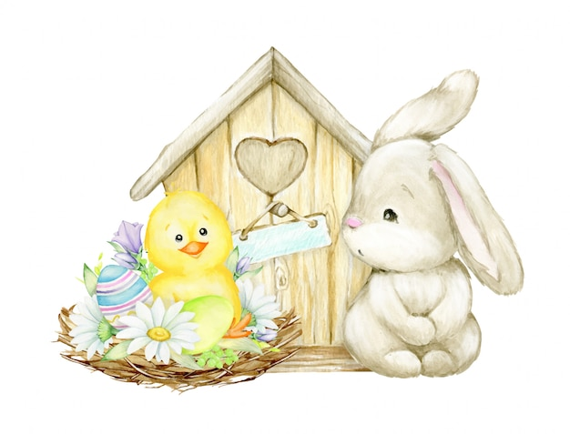 Kip, paaseieren, nest, madeliefjes, vogelhuisje, konijn. een kinderfoto. aquarel clipart voor de paasvakantie.