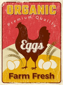 Kip poster. het aanplakbiljet van het vers ei gezond landbouwbedrijf