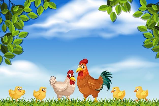 Kippen in natuurscène