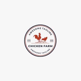 Kippenboerderij vintage illustratie logo.