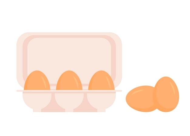 Kippeneieren in verpakking. verse bruine eieren in kartonnen doos, container. heel ei in eierschaal.