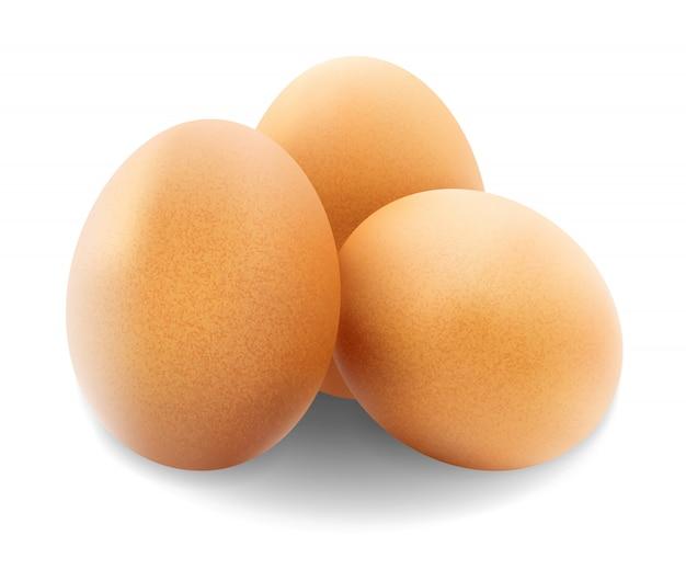 Kippeneieren op wit worden geïsoleerd dat.