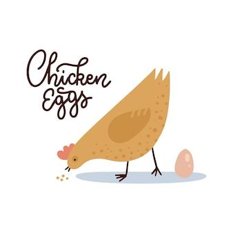 Kippeneieren sjabloon voor spandoek boerderij kip met ei en belettering tekst schattige kip pikt graan boer ma...