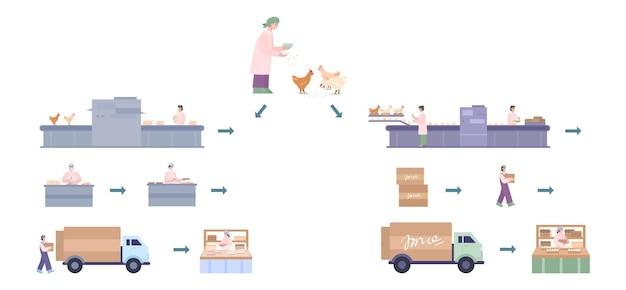 Kippenfabriek voor productie en levering verse eieren en vlees
