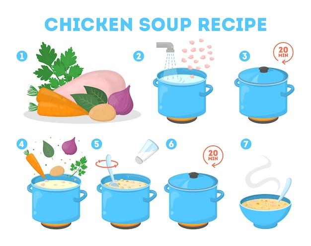 Kippensoeprecept om thuis te koken