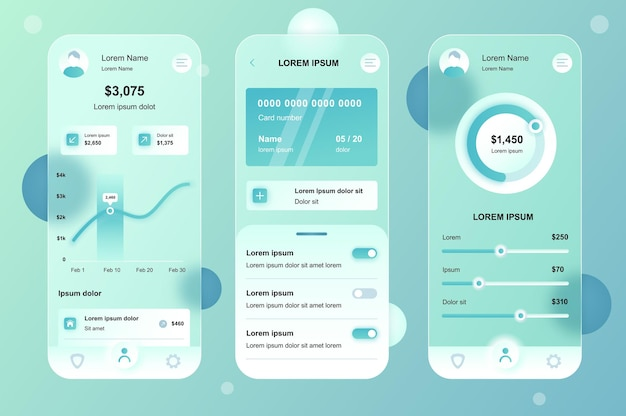 Kit voor online bankieren met glasmorfe neumorfische elementen voor mobiele app ui ux gui-schermen