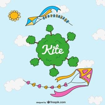 Kite cartoon schattige