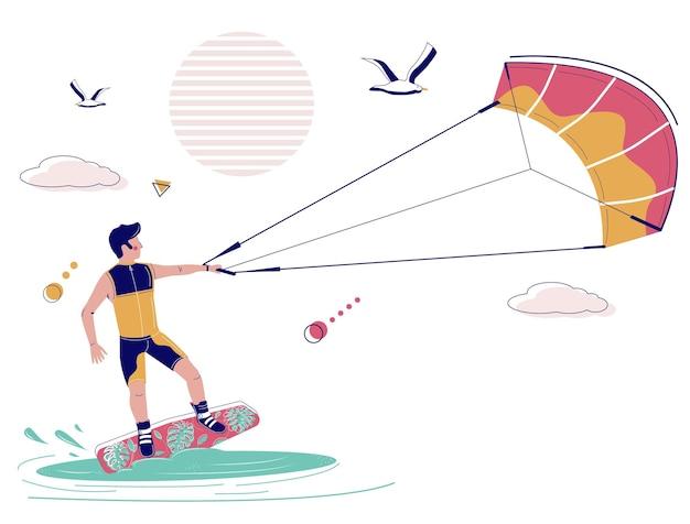 Kiteboarder op kiteboard getrokken over water door kite vectorillustratie kiteboarden kitesurfen ex...