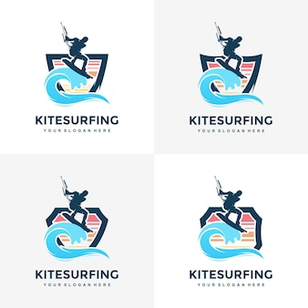 Kitesurfen ontwerp concept illustratie silhouet vector