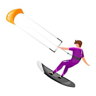 Kitesurfen vlakke afbeelding. extreme sportervaring. actieve levensstijl. vakantie buitenactiviteiten. sportman balanceren aan boord met kite geïsoleerde stripfiguur op witte achtergrond