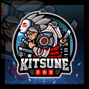 Kitsune cyborg mascotte esport logo ontwerp Premium Vector