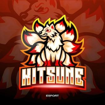 Kitsune esport-logo voor elektronisch sportgaming-logo.