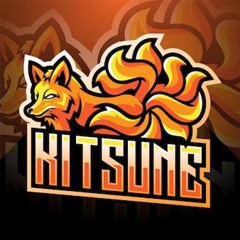 Kitsune esport mascotte logo ontwerp