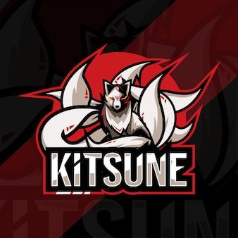 Kitsune mascotte logo esport sjabloonontwerp