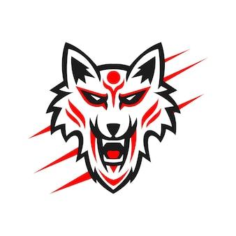 Kitsune mascotte logo ontwerp