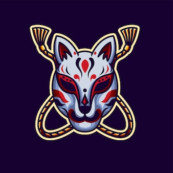 Kitsune-masker, tatto-ontwerp en illustratie