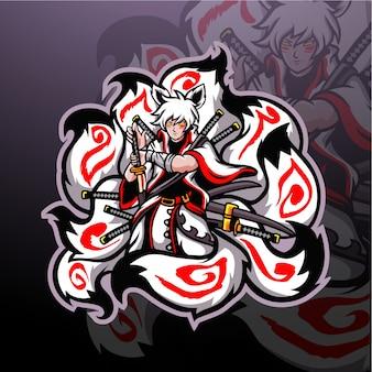 Kitsune negen staarten esport logo mascotte ontwerp