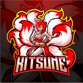 Kitsune vrouwelijk negen staarten esport logo-ontwerp.
