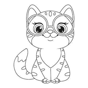 Kitten met bril kleurplaat overzicht cartoon vectorillustratie