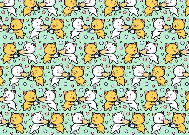 Kitten naadloze patroon Premium Vector