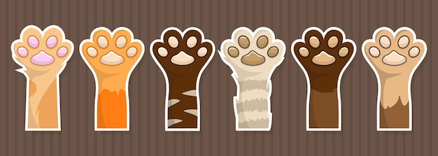Kitten paws grote set stickers. hondenpoot patch