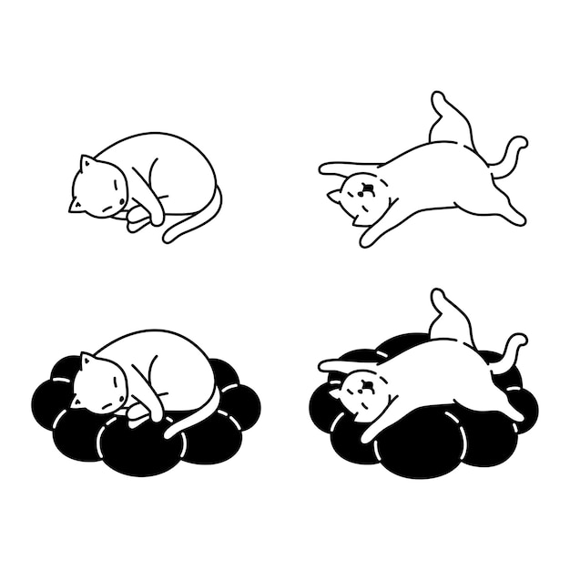 Kitten slapen kussen stripfiguur