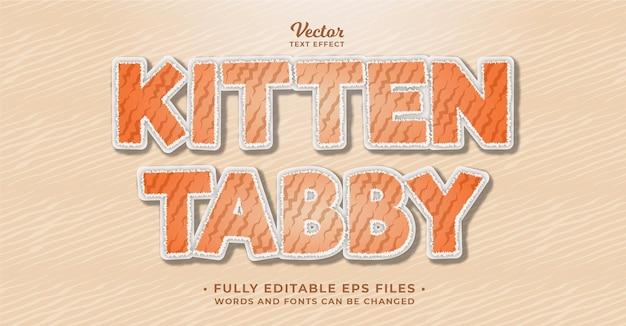 Kitten tabby kat teksteffect bewerkbare eps cc woorden en lettertypen kunnen worden gewijzigd