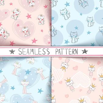 Kitty naadloos patroon