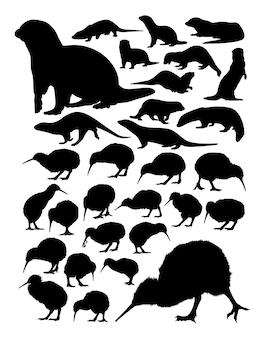 Kiwi en otter dieren silhouet