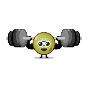 Kiwi fitness barbell schattig karakter mascotte