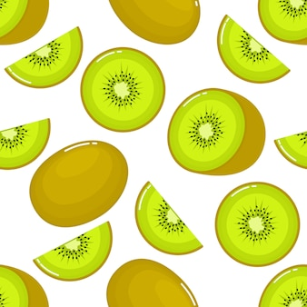 Kiwi naadloos patroon en plakjes. fruit zomer op witte achtergrond.