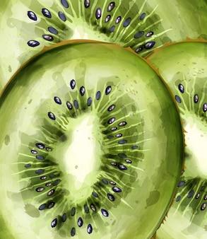 Kiwi patroon close-up aquarel