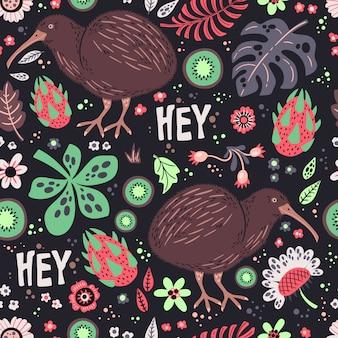 Kiwivogel met planten en bloemenpatroon