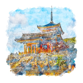 Kiyomizudera tempel japan aquarel schets hand getrokken illustratie
